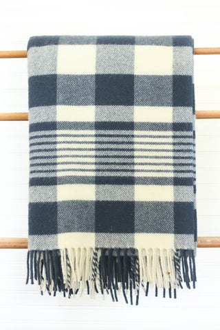 Faribault Plaid Wool Throw | Navy/Natural