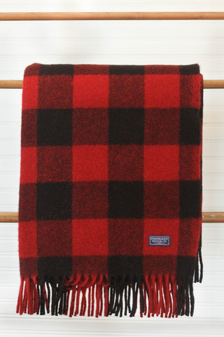 Buffalo Check Wool Throw | Red/Black