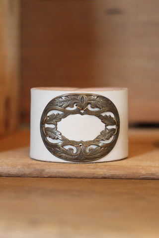 Large Cream Vintage Buckle Bracelet