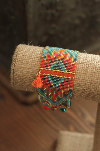 Beaded Bracelet | Coral & Turquoise