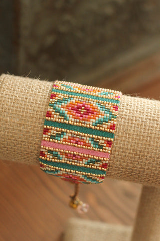Beaded Bracelet | Pink & Turquoise
