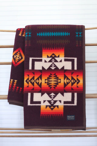 Chief Joseph Robe Blanket | Maroon