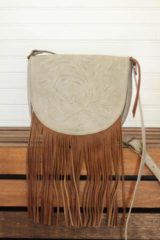 Sherdian Flap with Fringe Crossbody | Natural