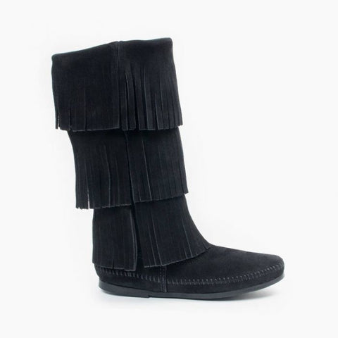 Minnetonka 3-Layer Fringe Boot | Black