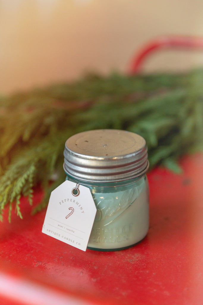 Peppermint 8oz Blue Jar Candle