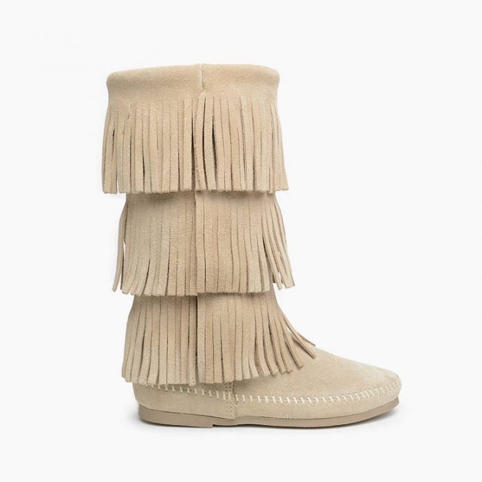 Minnetonka 3 Layer Fringe Boot | Stone