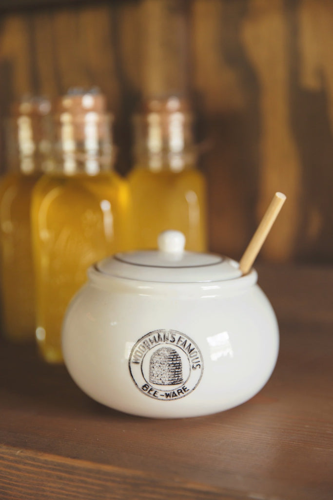 Woodsman's Famous Bee-Ware Honey Jar