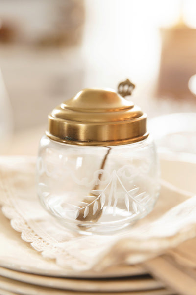 Antique Brass & Etched Glass Jam Jar