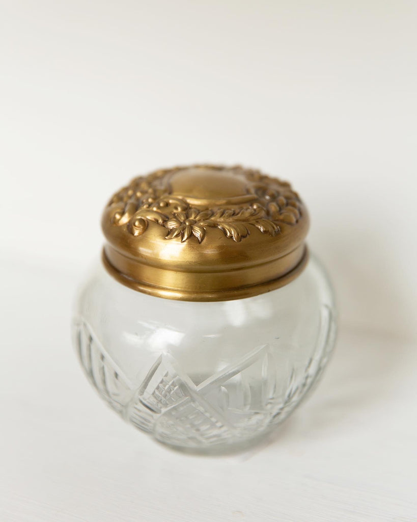 Antique Brass & Glass Pot Belly Jar