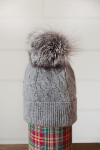 Light Grey Cashmere & Glacier Fox Toque