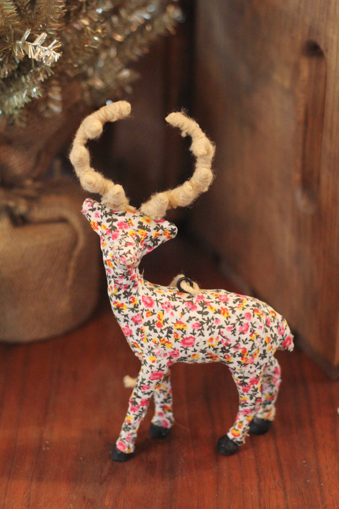 Calico Deer Ornament | Pink