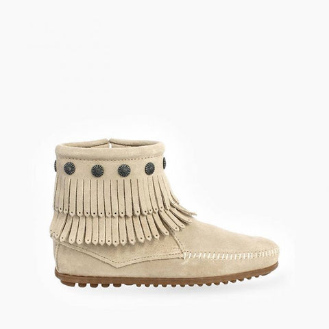 Minnetonka Double Fringe Zip Boot | Stone