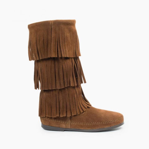 Minnetonka 3 Layer Fringe Boot | Dusty Brown