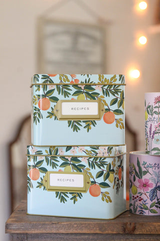 Tin Recipe Box | Citrus Floral