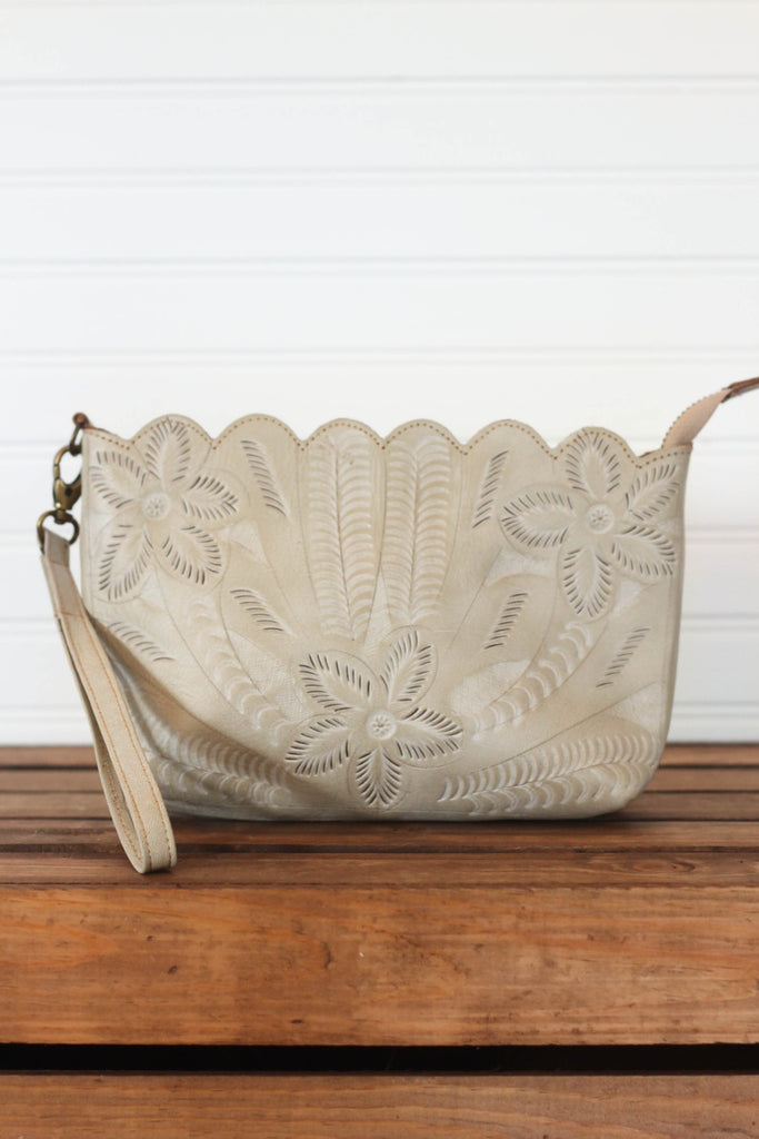 Bone Scalloped Wristlet