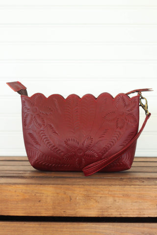 Red Scalloped Wristlet