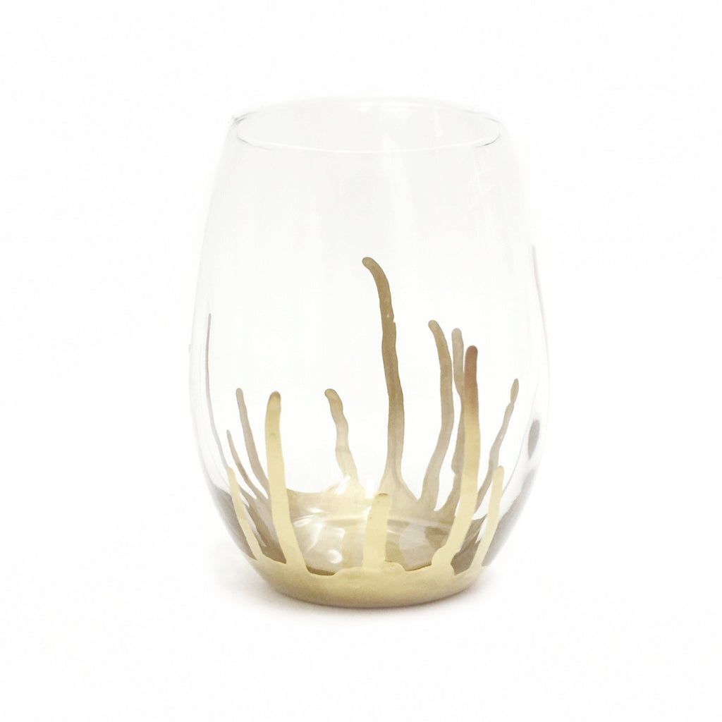Gold Drip Stemless Wine Glass