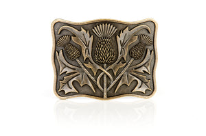 Antique Brass Thistle Design Belt Buckle