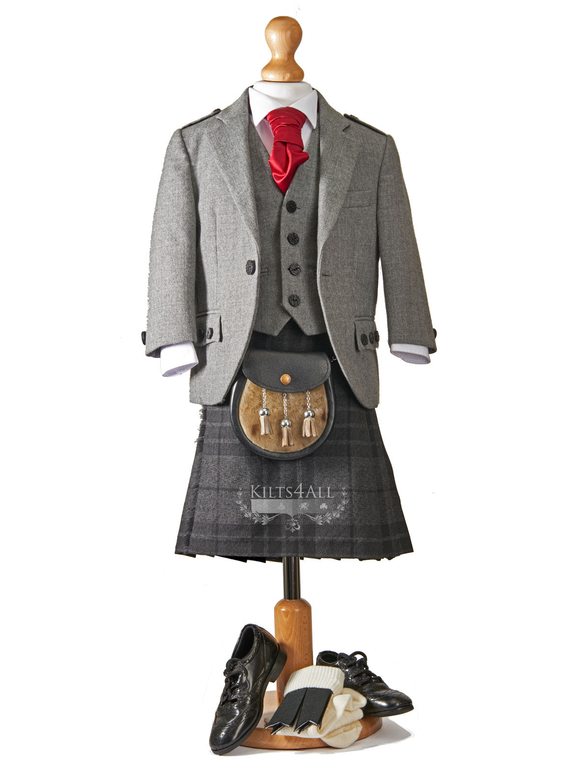 Boys Tartan Kilt Outfit to Hire - Light Grey Argyll Jacket & Waistcoat