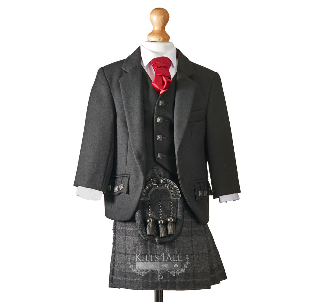 Boys Muted Black Argyll Jacket & Waistcoat to Hire