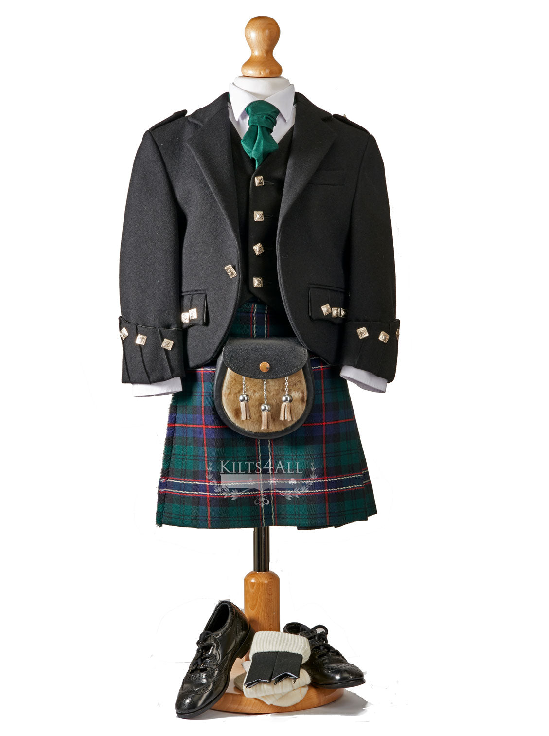 Boys Tartan Kilt Outfit to Hire - Traditional Black Argyll Jacket & Waistcoat