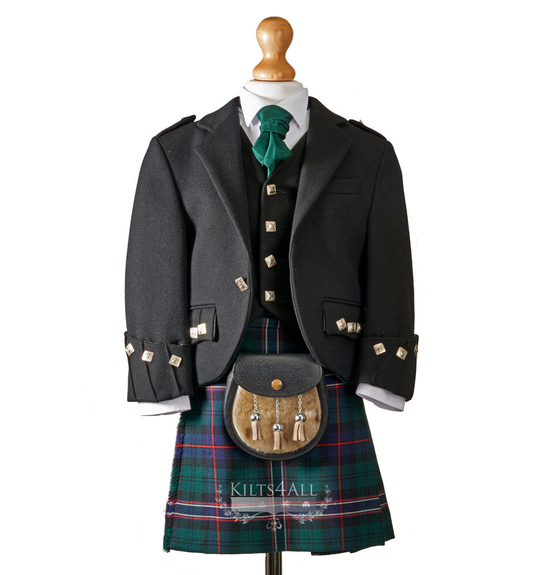 Boys Traditional Black Argyll Jacket & Waistcoat to Hire