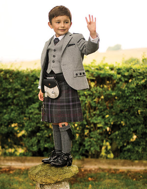 Boys Light Grey Argyll Jacket & Waistcoat to Hire