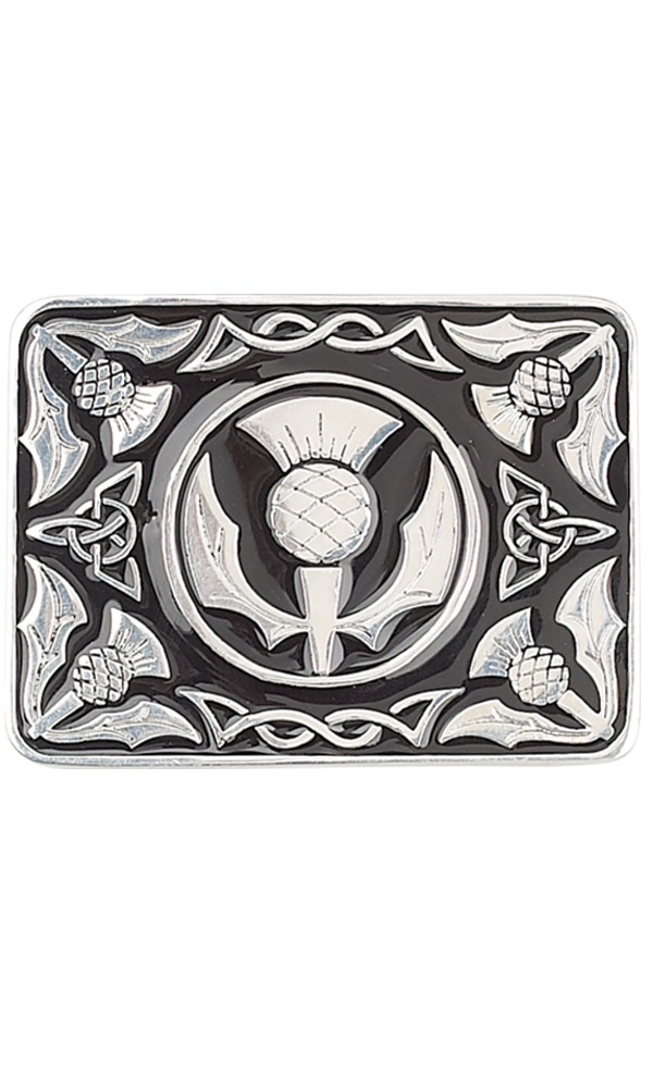 Thistle on Black Enamel Belt Buckle
