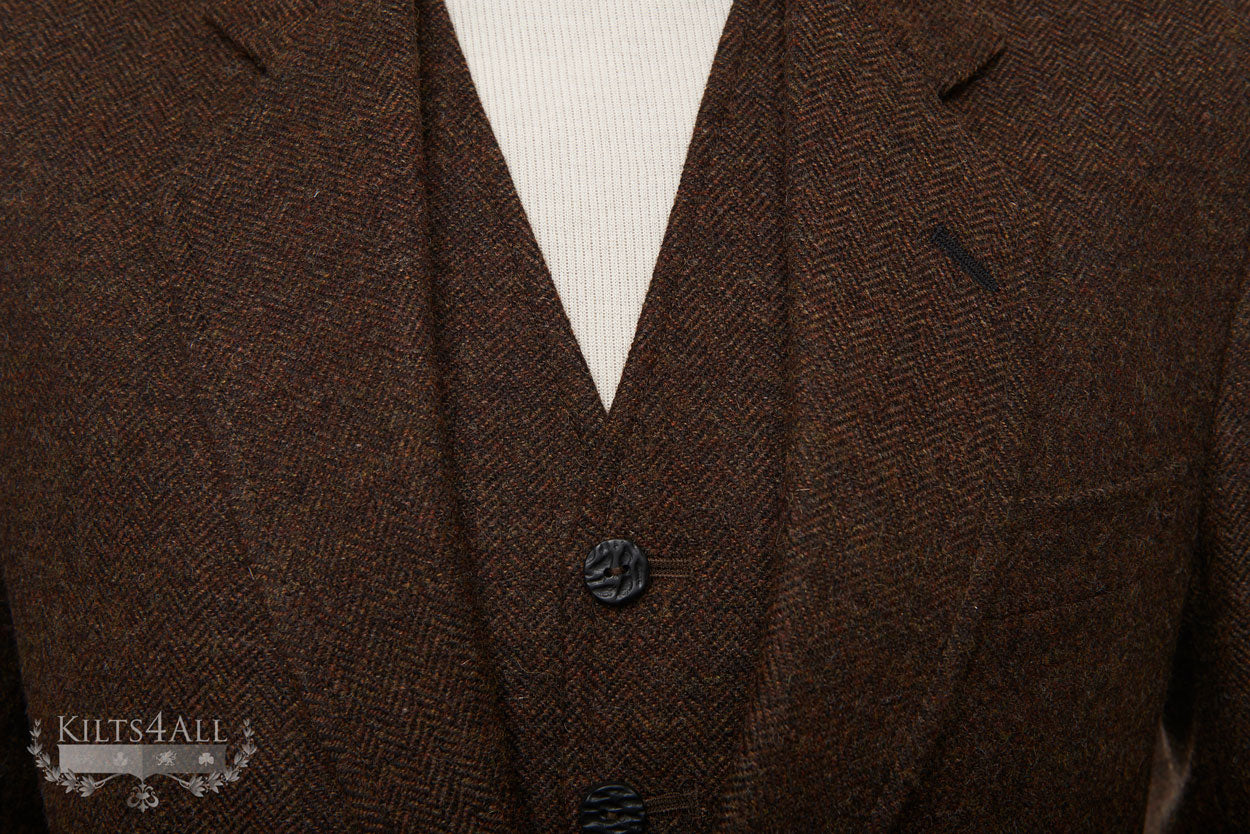 Mens Brown Herringbone Tweed Highland Argyll Jacket & Waistcoat