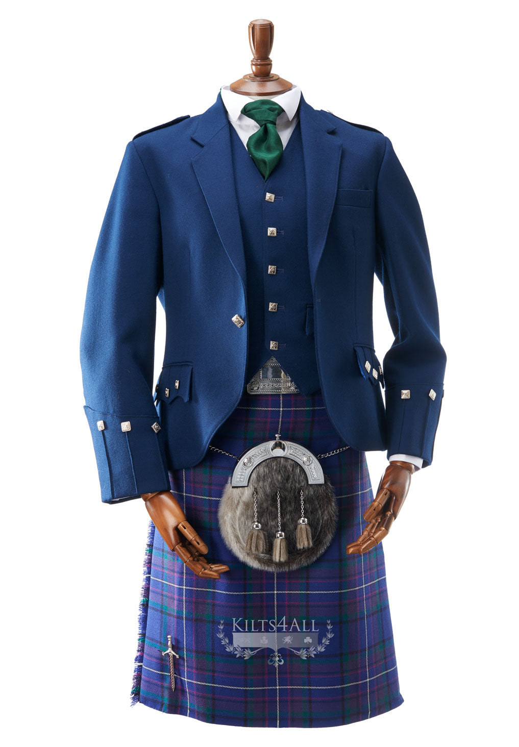 Mens Contemporary Blue Argyll Jacket & Waistcoat to Hire