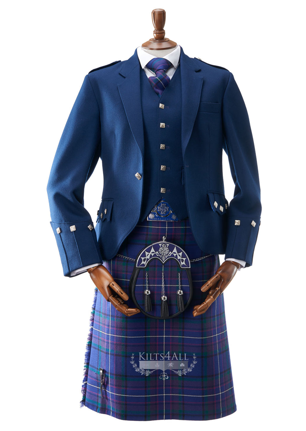 Mens Contemporary Blue Argyll Jacket & Waistcoat to Buy