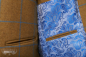Mens Gold with Blue Check Tweed Jacket & Waistcoat