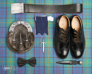 Mens Irish Tartan Kilt Outfit to Hire - Traditional Black Argyll Jacket & Waistcoat