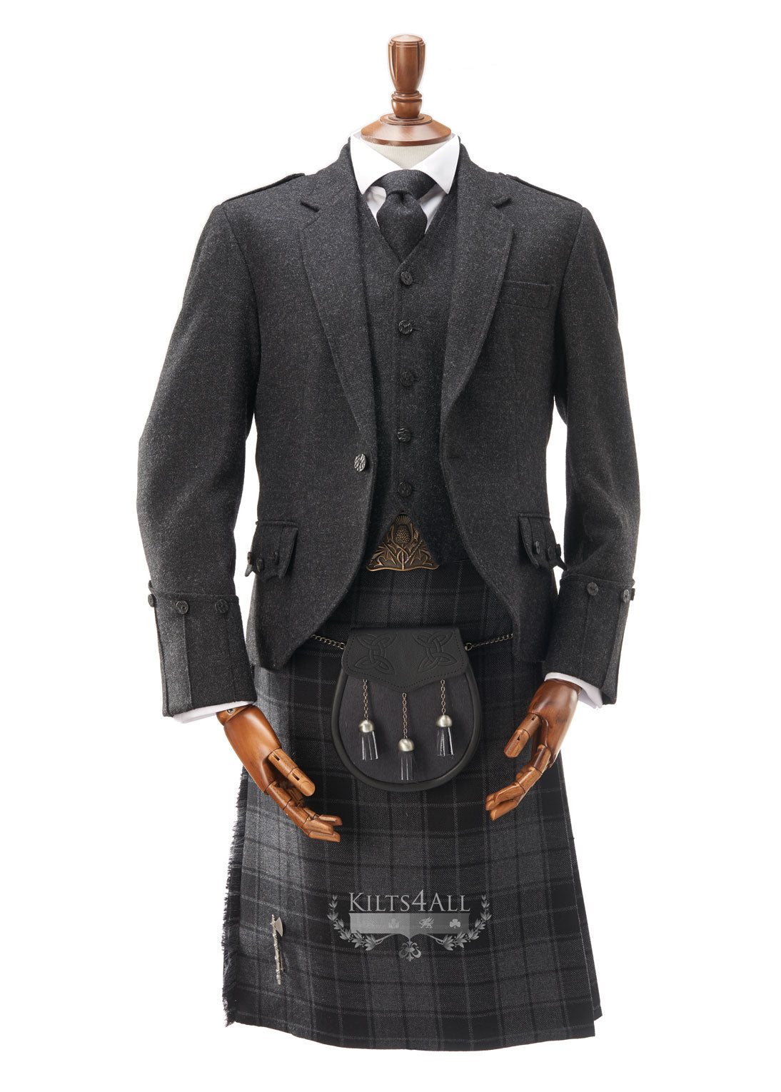 Mens Lightweight Charcoal Tweed Argyll Jacket & Waistcoat to Buy