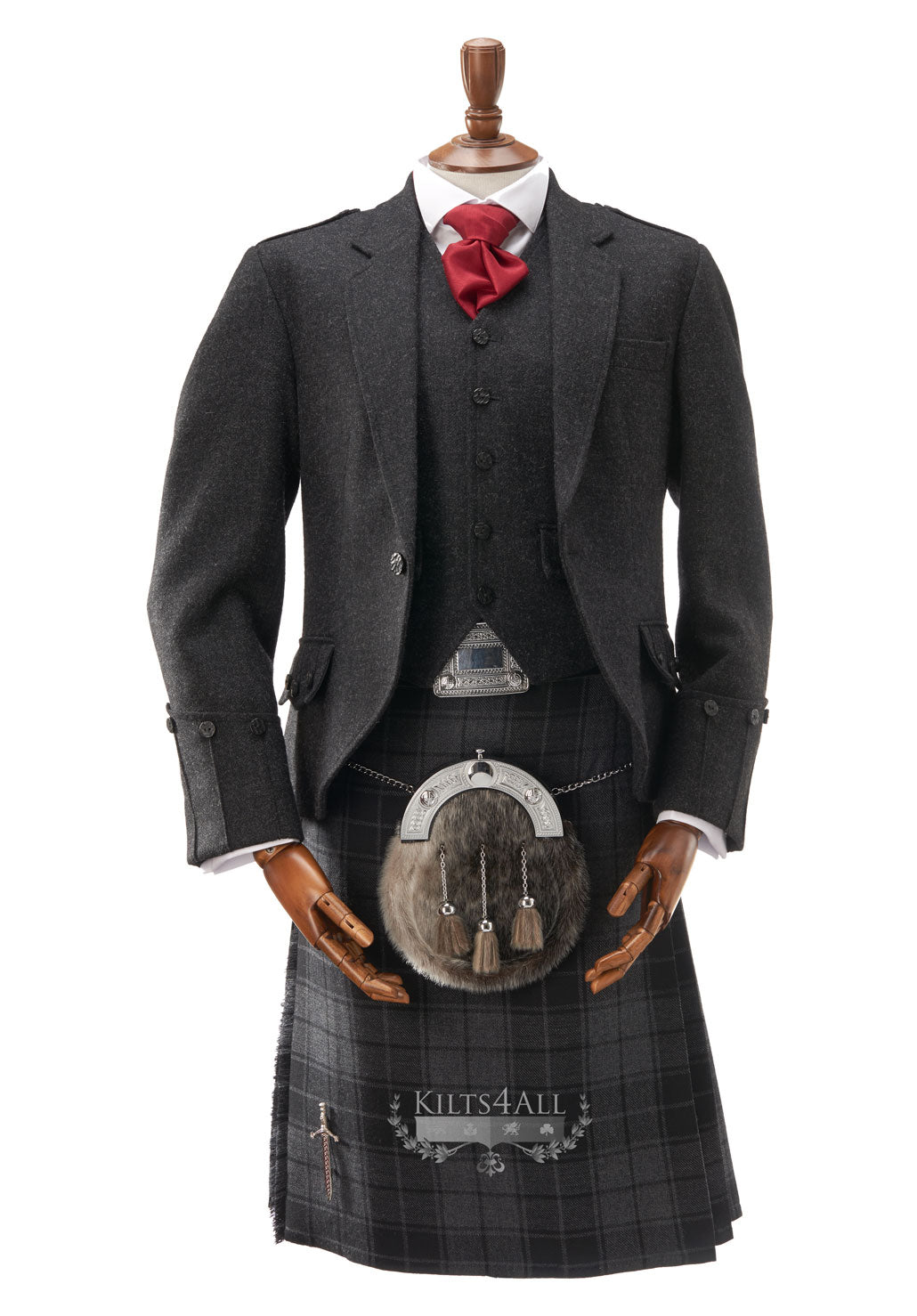 Mens Lightweight Charcoal Tweed Argyll Jacket & Waistcoat to Hire