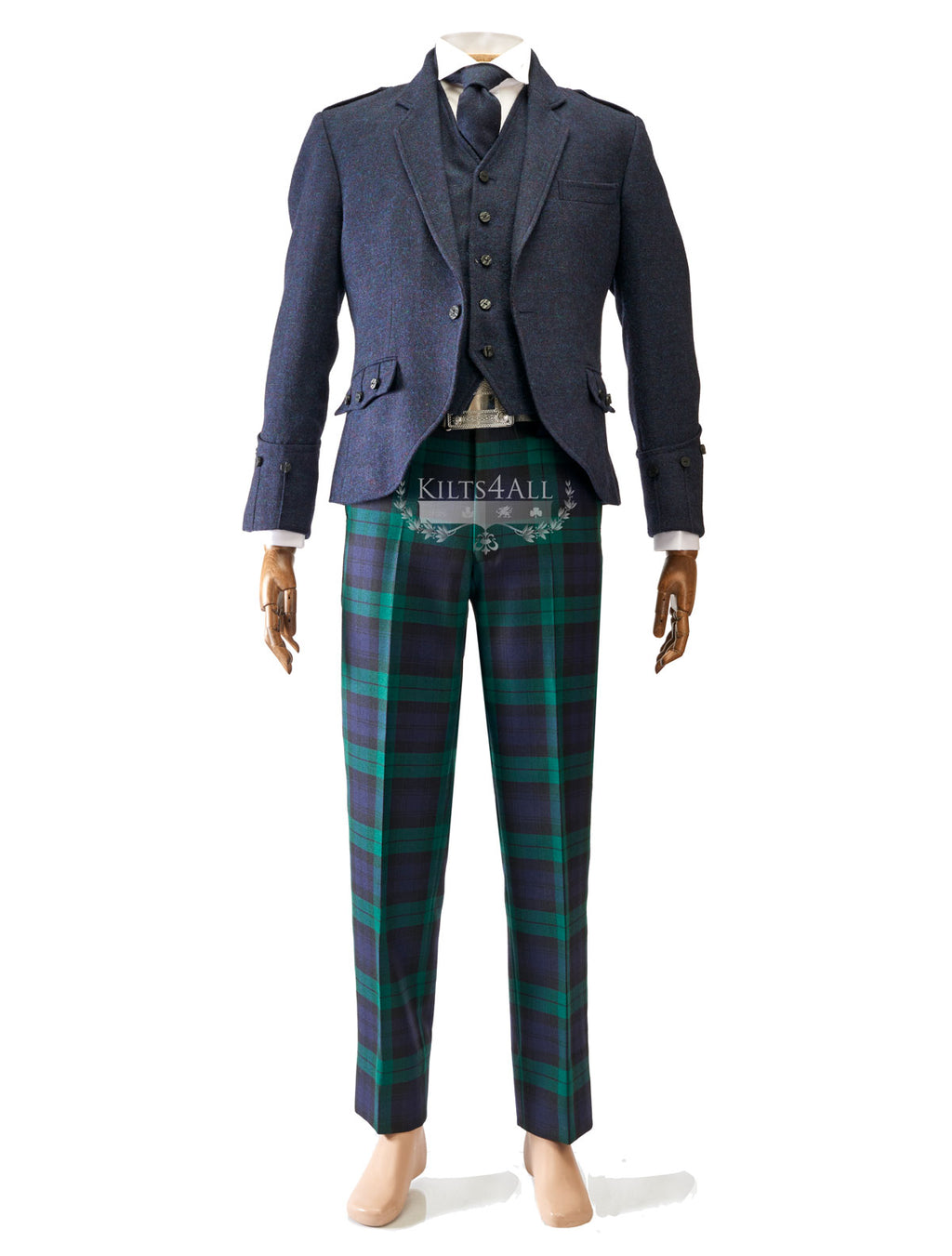 Mens Scottish Tartan Trews Outfit to Hire - Lightweight Navy Tweed Argyll Jacket & Waistcoat
