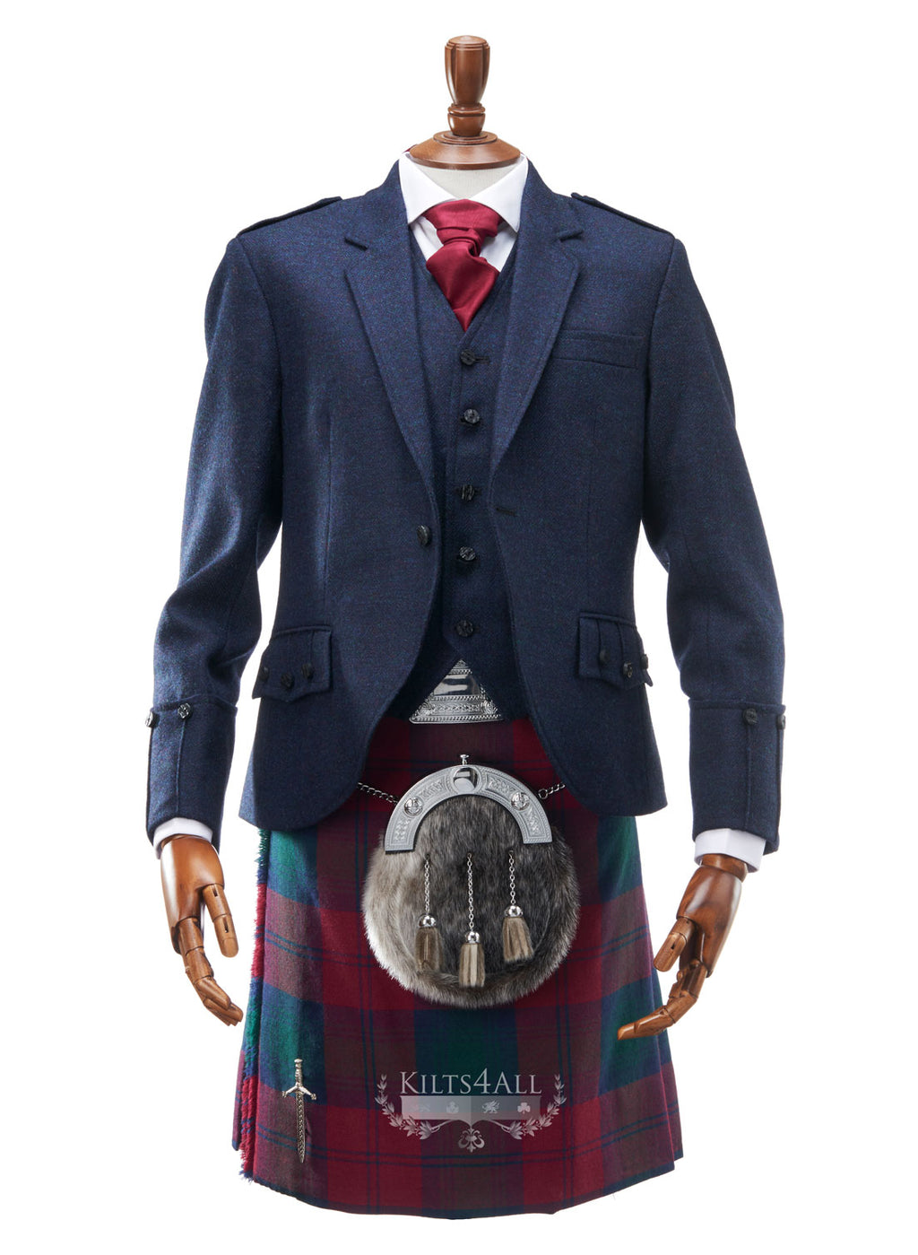 Mens Welsh National Tartan Kilt Outfit to Hire - Lightweight Navy Tweed Argyll Jacket & Waistcoat