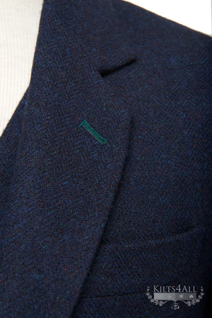 Mens Navy Tweed Argyll Jacket & Waistcoat with Green Detailing