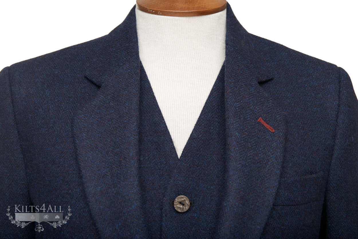 Mens Navy Tweed Argyll Jacket & Waistcoat with Burgundy Detailing