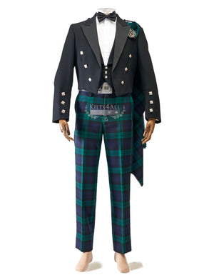 Mens Scottish Tartan Trews Outfit to Hire - Prince Charlie Jacket & 5 Button Waistcoat
