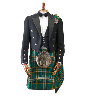 Mens Irish Tartan Kilt Outfit to Hire - Muted Black Argyll Jacket & Waistcoat
