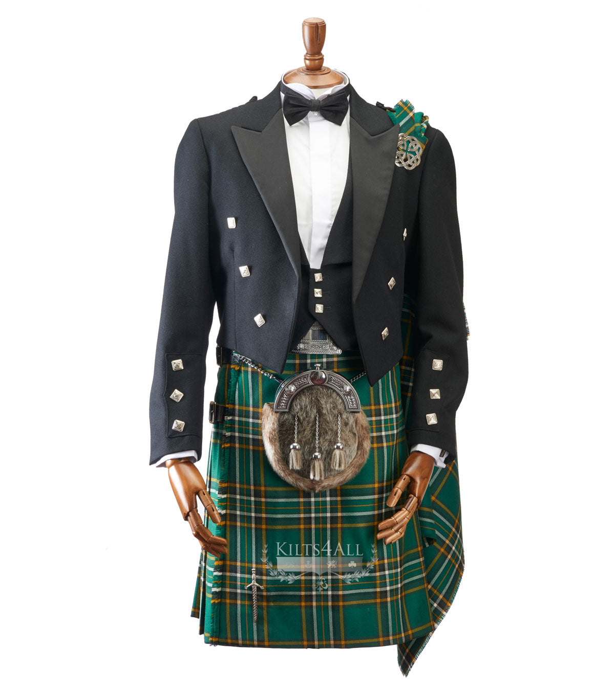 Mens Irish Tartan Kilt Outfit to Hire - Prince Charlie Jacket & 3 Button Waistcoat
