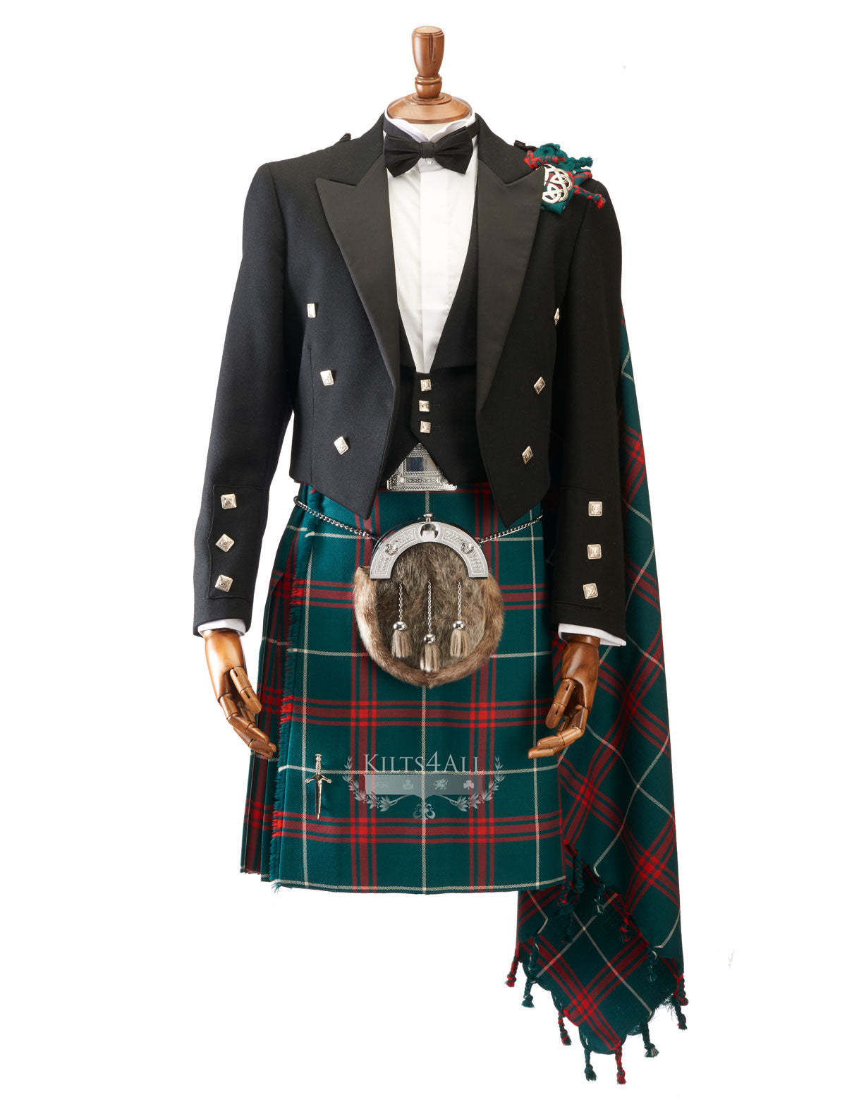 Mens Scottish Tartan Kilt Outfit to Hire - Muted Black Argyll Jacket & Waistcoat