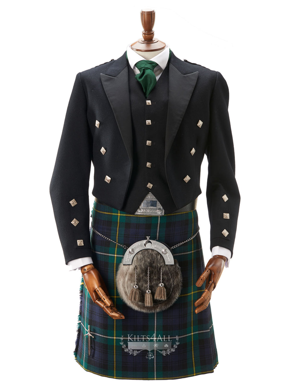 Mens Welsh National Tartan Kilt Outfit to Hire - Prince Charlie Jacket & 5 Button Waistcoat