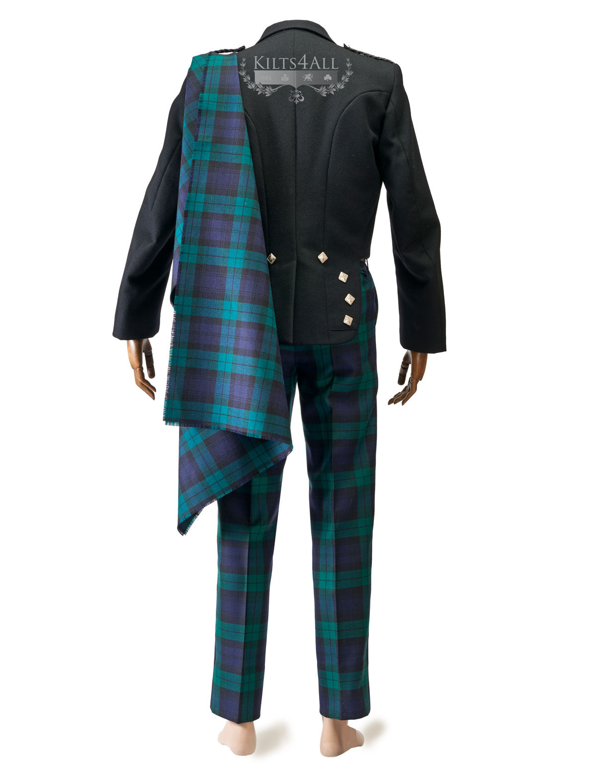 Mens Scottish Tartan Trews Outfit to Hire - Traditional Black Argyll Jacket & Waistcoat