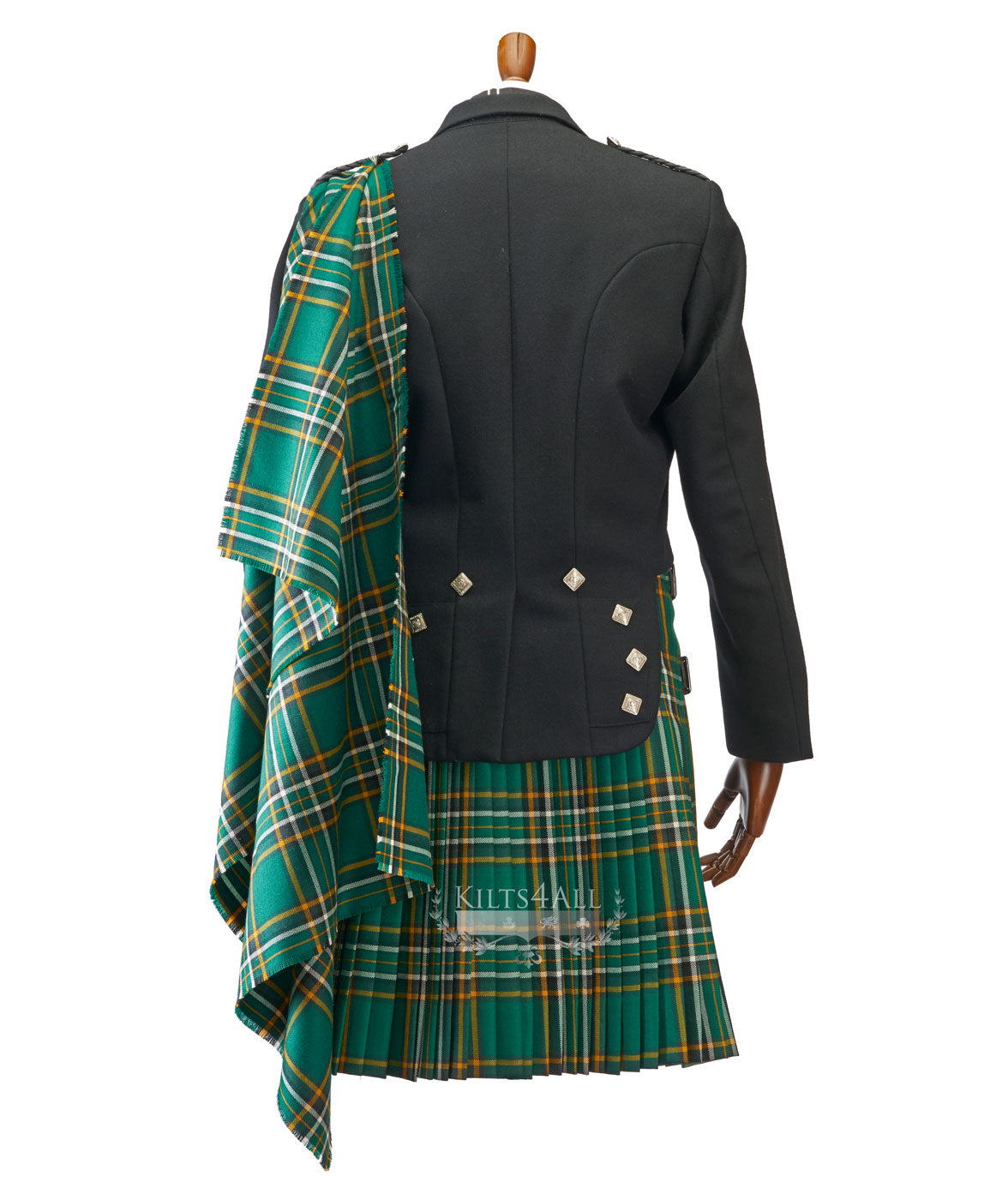 Mens Irish Tartan Kilt Outfit to Hire - Lightweight Charcoal Tweed Argyll Jacket & Waistcoat