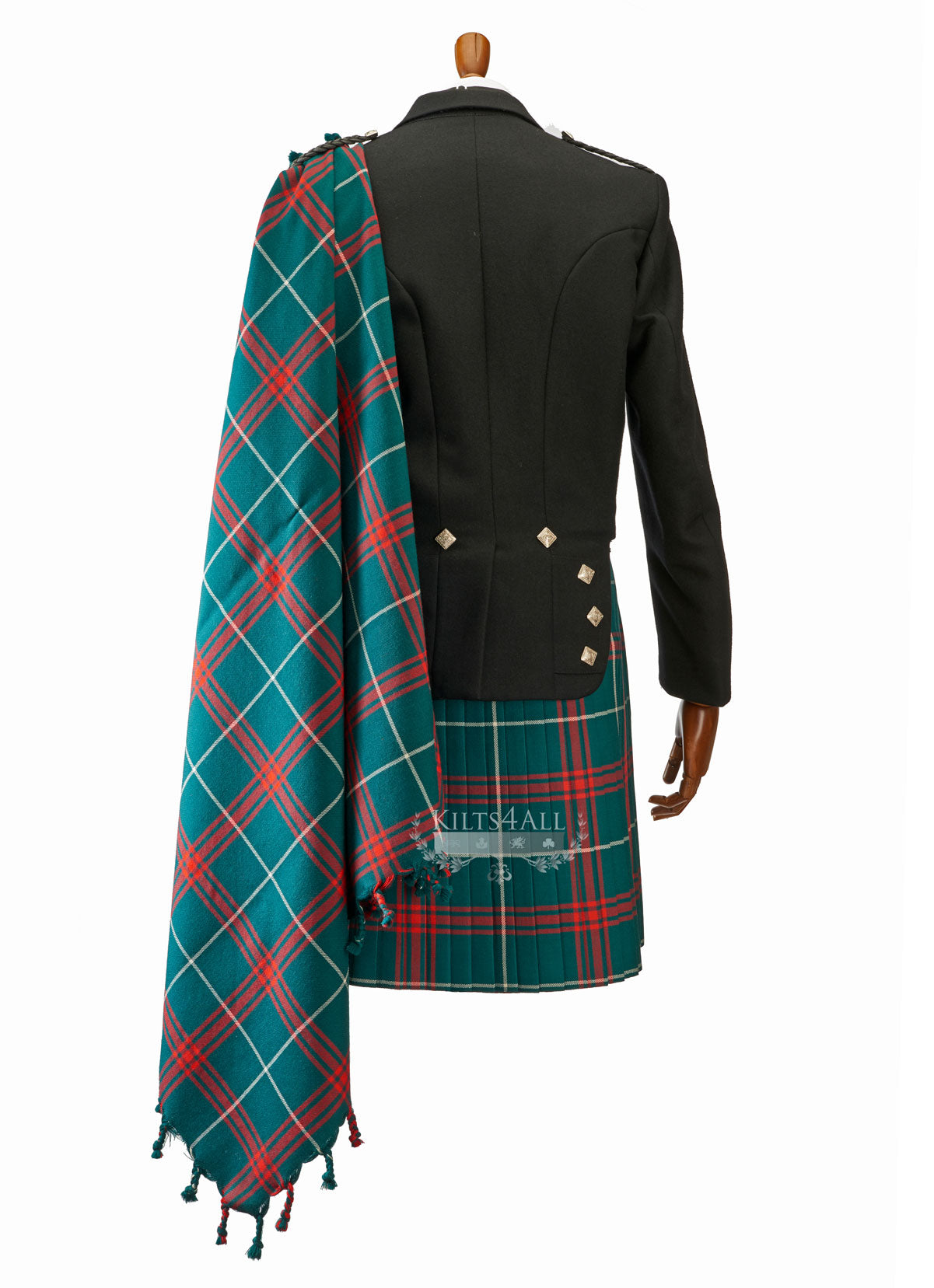 Mens Welsh National Tartan Kilt Outfit to Hire - Traditional Black Argyll Jacket & Waistcoat