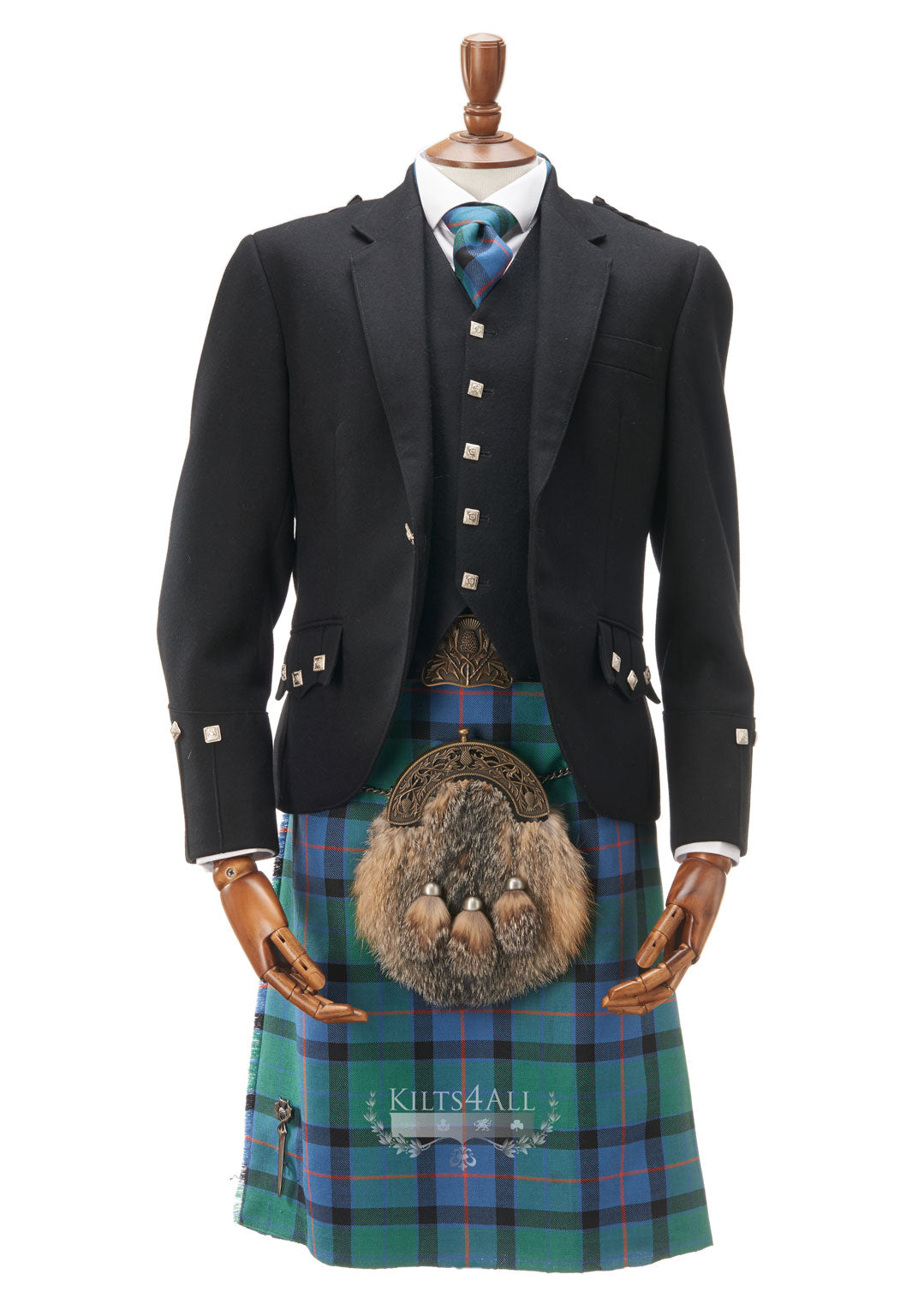 Mens Traditional Black Argyll Jacket & Waistcoat to Buy
