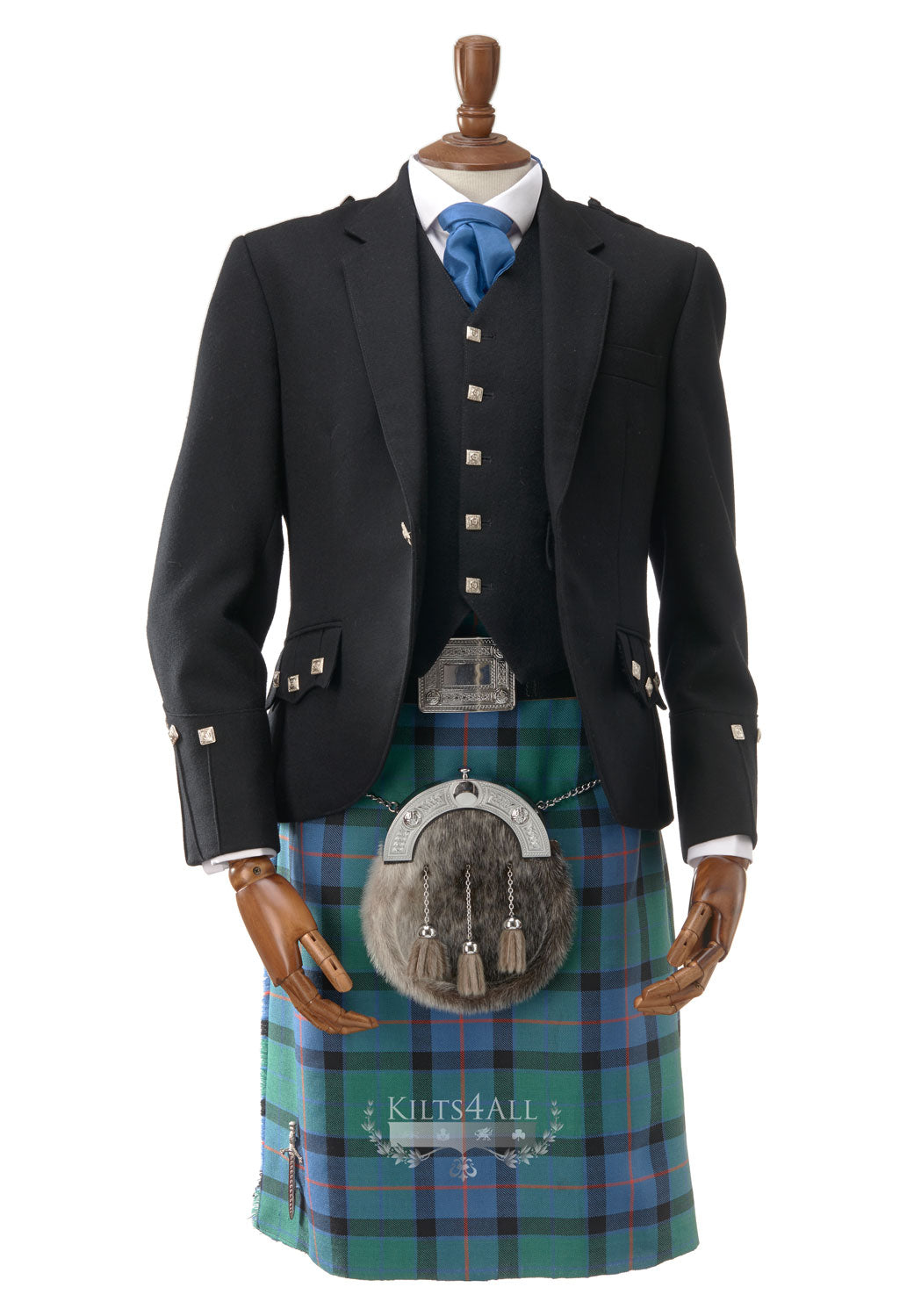 Mens Scottish Tartan Kilt Outfit to Hire - Traditional Black Argyll Jacket & Waistcoat