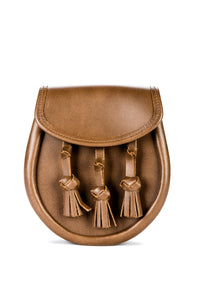 Tan Plain Leather Sporran with Knotted Tassles